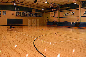 Gym flooring after being restored